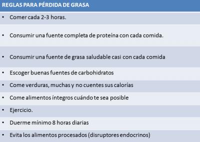 reglas pérdida de grasa